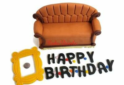 Friends Couch Cake Topper Kit - Fondant, Handmade Edible, Friends frame and couch