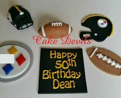 Football theme cake topper kit, Fondant Football and Helmet, Personalized Plaque