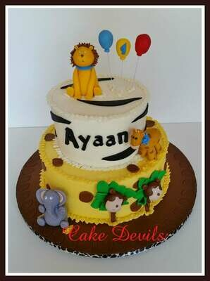 Safari Animal Fondant Cake Topper Kit with Lion, Elephant, Giraffe, and Monkey