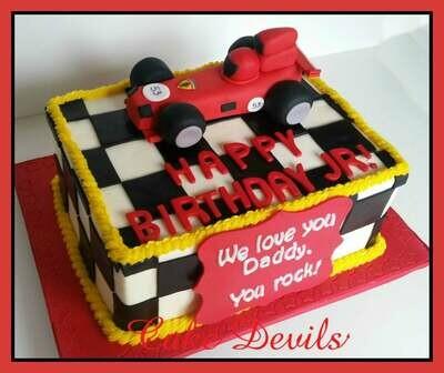 Race Car Fondant Cake Topper, Handmade Edible Sports Car Cake Topper