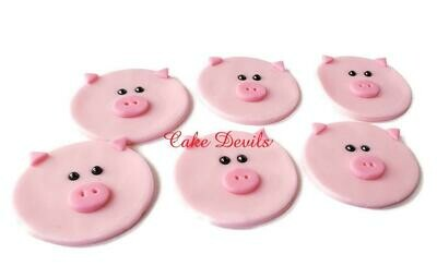 Fondant Pig Cupcake Toppers, Handmade Edible Pig Faces