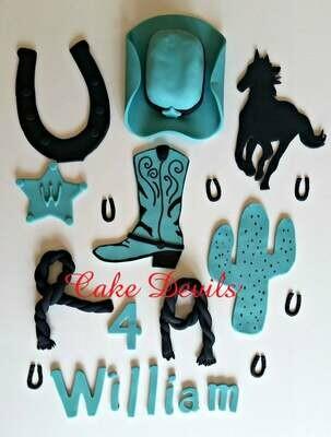 Cowboy Country Western Cake Topper Kit, handmade edible, fondant, cowboy hat, cactus, and horseshoe