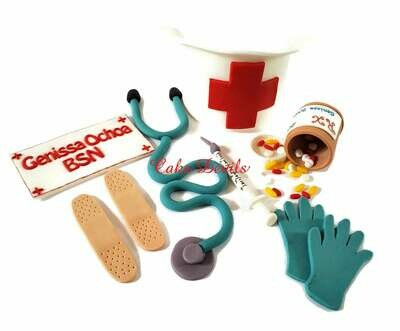 Nurse Cake Toppers, Fondant Stethoscope, Pill Bottle, Hat, and more