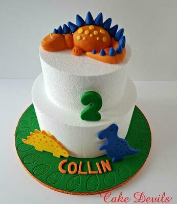 Dinosaur Cake kit with Fondant Covered Board for cake, Dinosaur Birthday Cake Decorations,