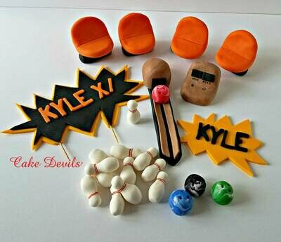 Bowling theme cake topper kit with Seats and Ball Return