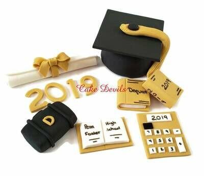 Graduation Cake Kit, Fondant Graduation Toppers, handmade edible, fondant, Graduation Cake Decorations, Cap and Diplomia