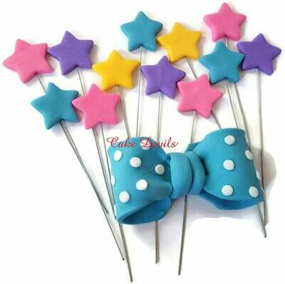 Exploding Fondant Stars or Hearts Cake Toppers, Star Cake Decorations, Heart Cake Decorations, handmade edible