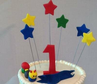 Handmade Edible Fondant Exploding Name with Stars or Hearts Cake Topper, fondant stars, fondant hearts, Star Cake topper, heart cake topper
