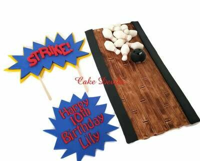 Bowling Cake Toppers - Fondant Bowling theme cake topper kit- Handmade Edible bowling ball, bowling pins, bowling cake decorations