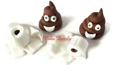 Toilet Paper and Poop Emoji Fondant Cupcake Toppers