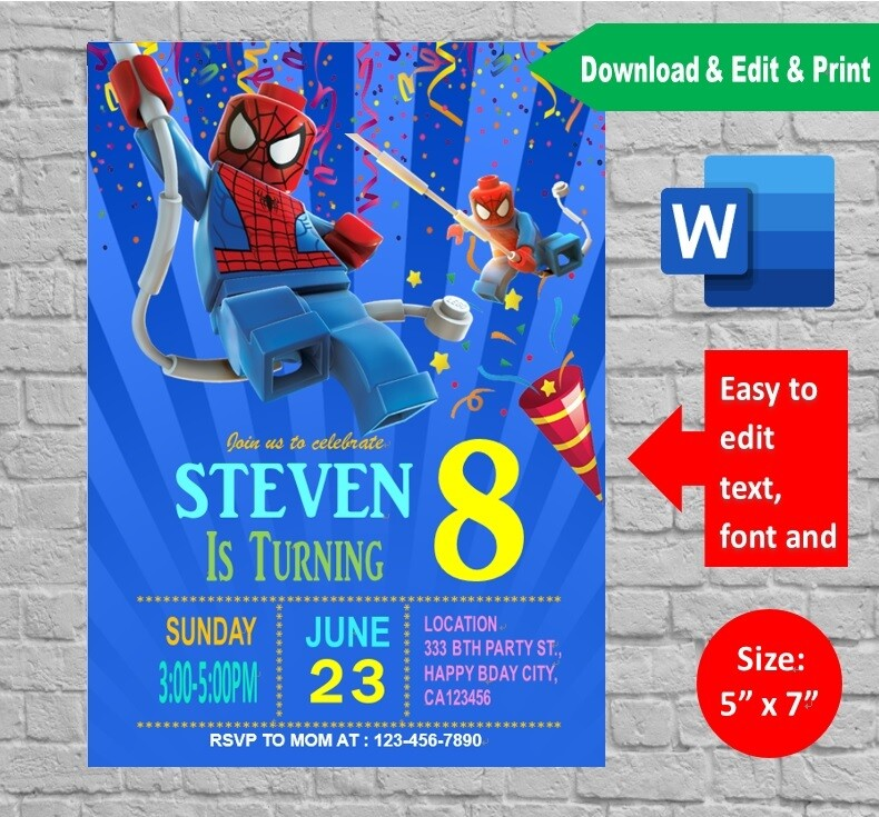 It's just an image of Printable Lego Invitations with regard to layout