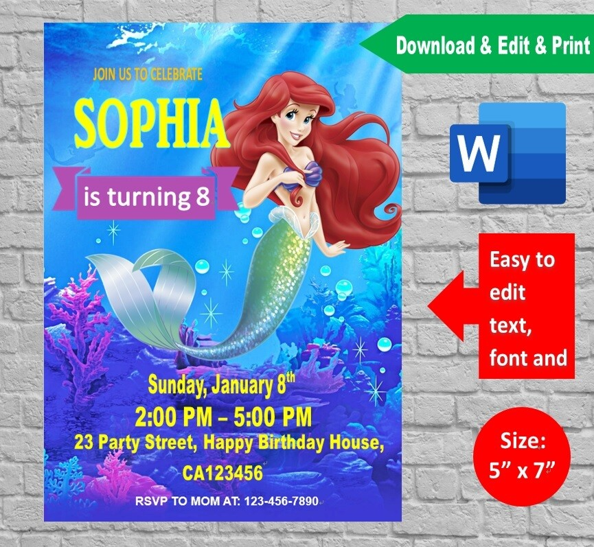 Little Mermaid Birthday Party Invitation Card Editable By Microsoft Word