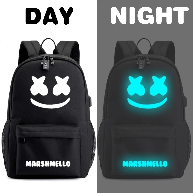 Marshmallow glow in the dark backpack USB charging port