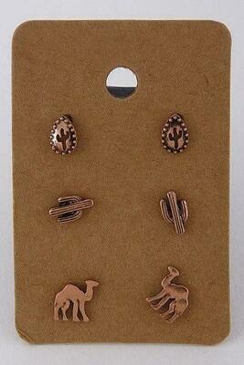 Desert Themed Stud Earring Set