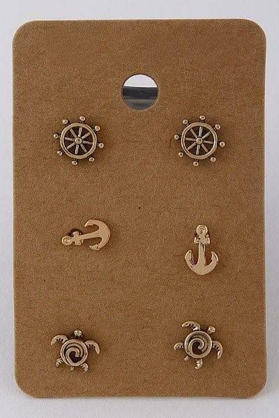 Marine Themed Stud Earring Set