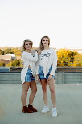 Stripe Ruffle Hem Shorts