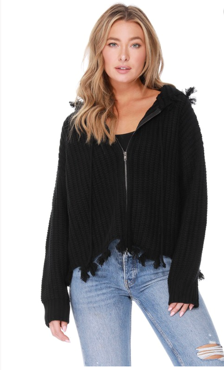 Zip Up Sweater Hoodie with Frayed Edges