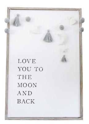 Pom Tassel Moon Plaque