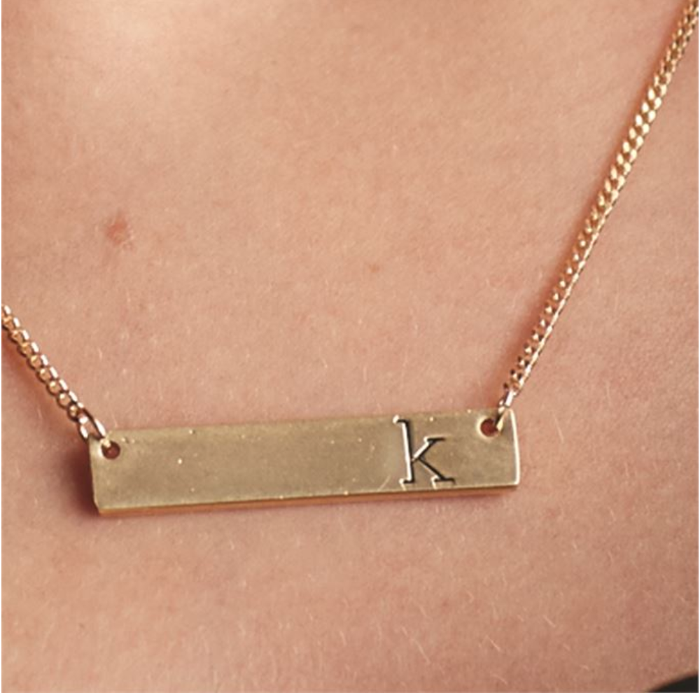 Bar Initial Necklace
