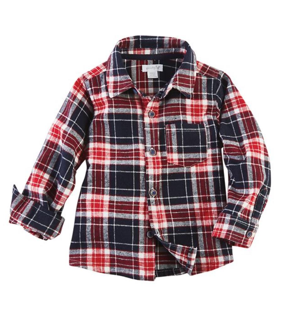 Red Plaid Flannel Button Down Shirt