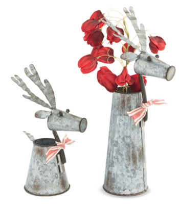 Tin Reindeer Vases
