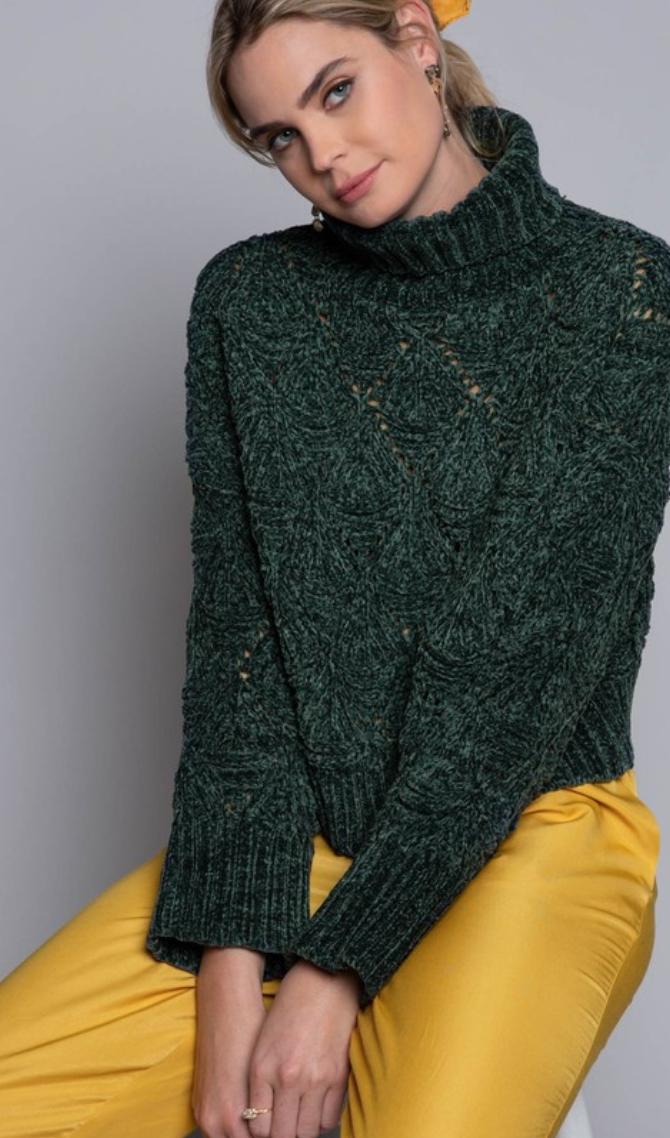 Turtle Neck Silk Sweater