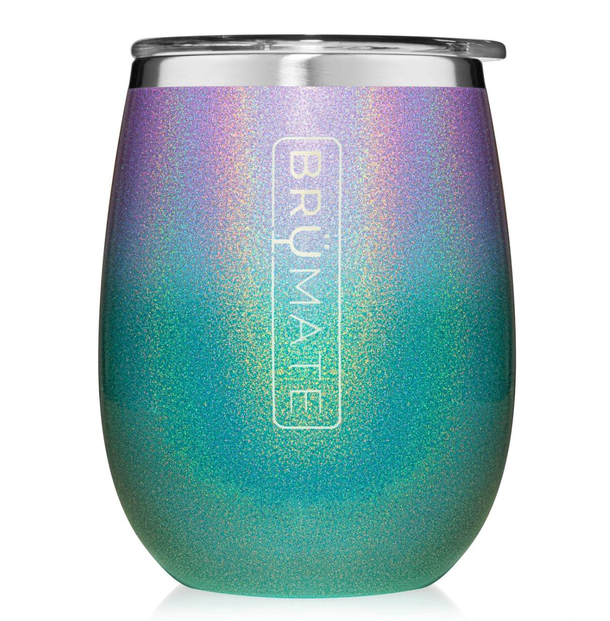 Uncork'd XL 14oz Wine Tumbler   Glitter Mermaid
