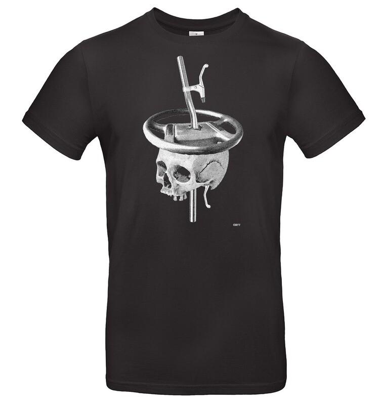 T-Shirt Lenker schlägt Lenkrad