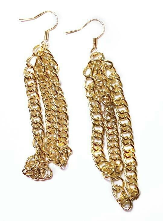 Double layer chain earrings