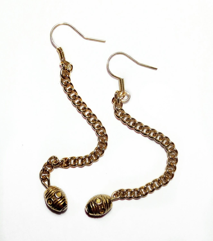 Chain bead earrings