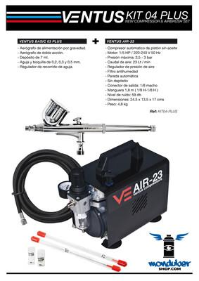 Ventus Kit 04 Plus - Kit de Compresor y Aerógrafo