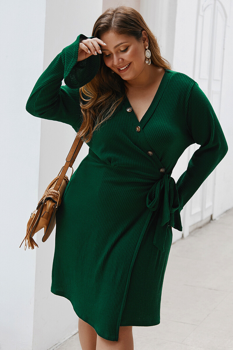 Adele green plus size knitted wrap dress