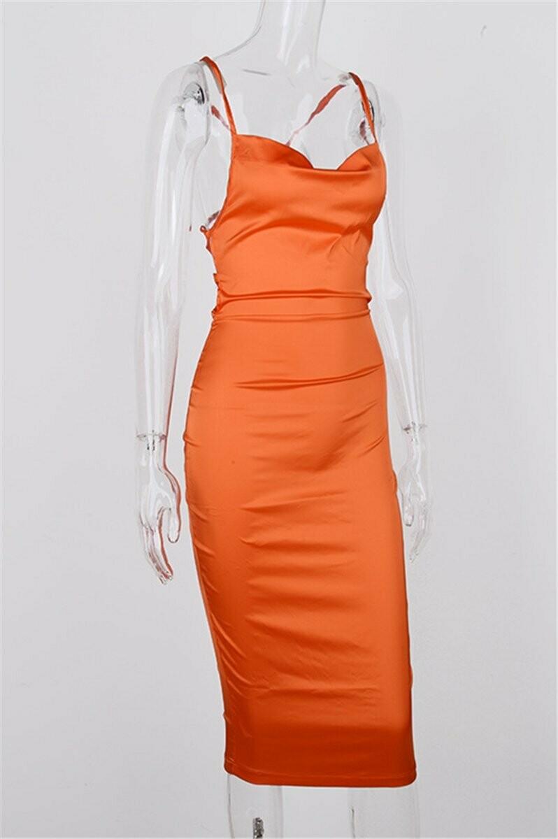 Bougely Laced orange midis dress