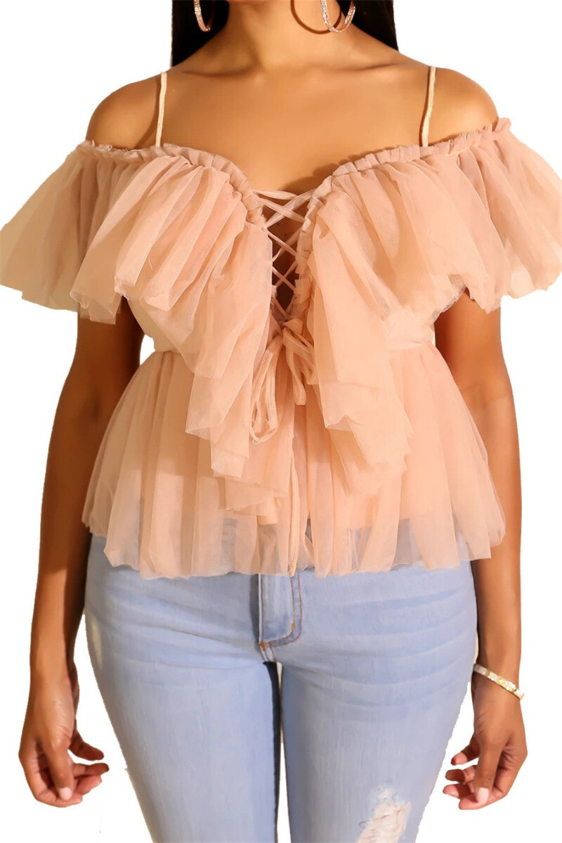 Enchanted  lace nude Top