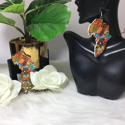 The Land Of Hope African Map Wooden Earrings