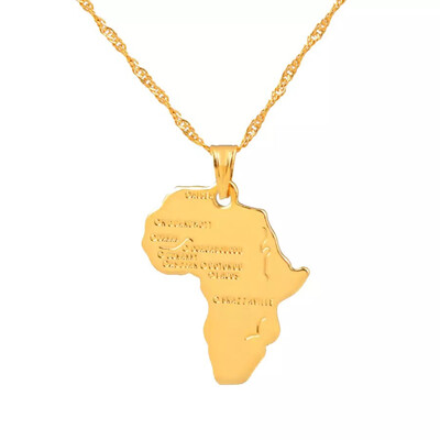 Empress African Map Pendant Necklace