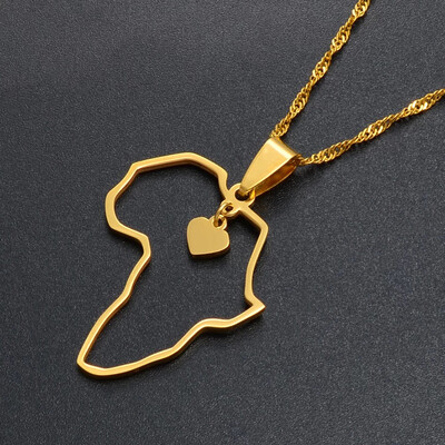Open Heart Pendant Africa map Necklace