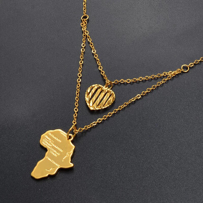 Heart of Gold Map of Africa pendant Necklace