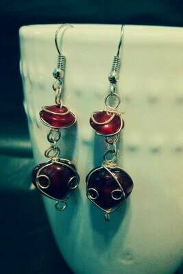 Wire Wrapped Ruby Red Glass Bead with Heart Earrings *free scented gift bag*