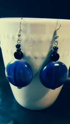 Large Purple Beaded Dangle Earrings with Black Lentil Glass Accent *free scented gift bag*