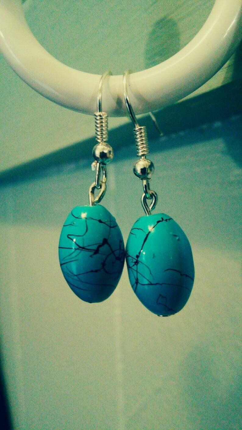 Turquoise Blue and Black Splatter Glass Bead Dangle Earrings *free scented gift bag*