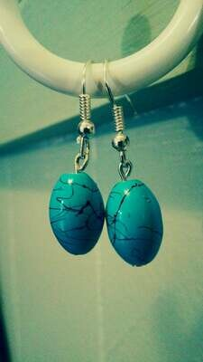 Turquoise Blue and Black Splatter Glass Bead Dangle Earrings *free scented gift bag*