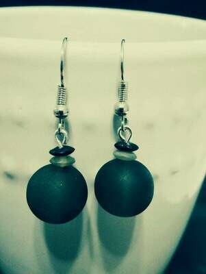 Opaque Black / Gray Round Glass Bead Earring *free scented gift bag*