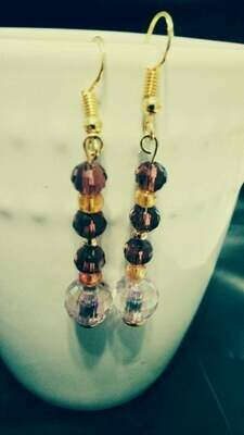 Gold and Purple Dangle Earrings *free scented gift bag*