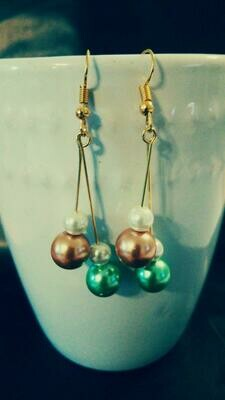 Hanging OrNaMeNTs Gold Earrings with Pearlescent Beads *free scented gift bag*