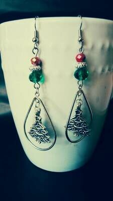 Teardrop Christmas Tree Earrings with a Festive Glass Bead Accent *free scented gift bag*