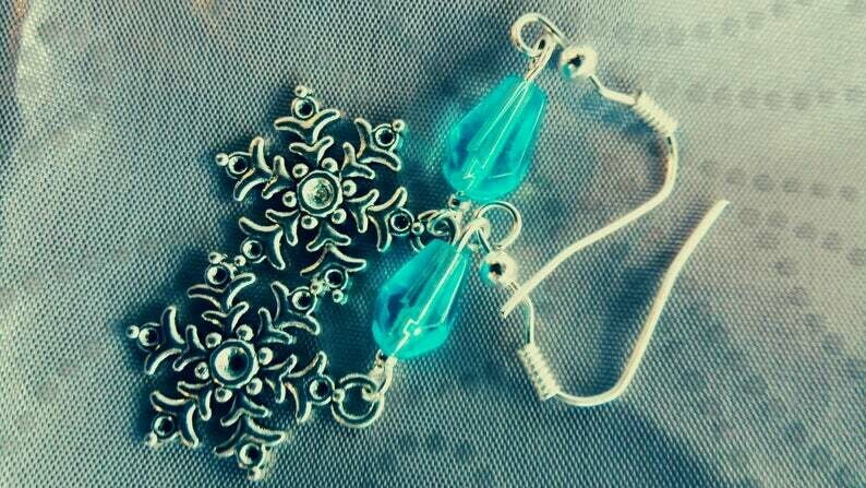 Silver Snowflake Pendant Dangle Earring with Icy Blue Bead Accent *free scented gift bag*