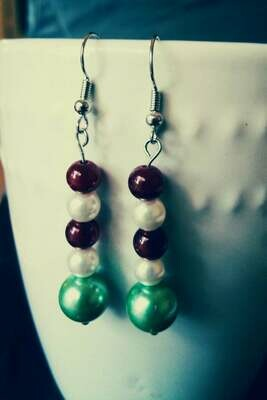 Pearlescent Holiday Earrings featuring Classic Christmas Colors *free scented gift bag*
