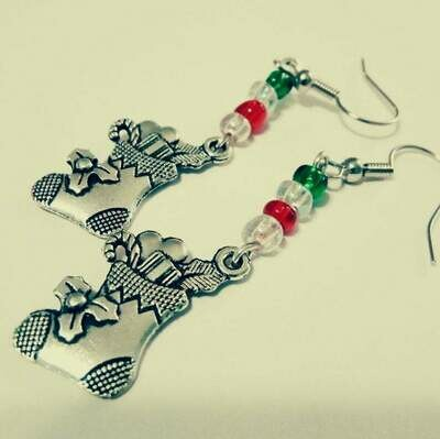 cHRiSTMaS sTocKiNgS Holiday Earrings *free scented gift bag*