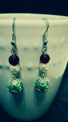 Holiday Earrings with Classic Christmas Colors *free scented gift bag*